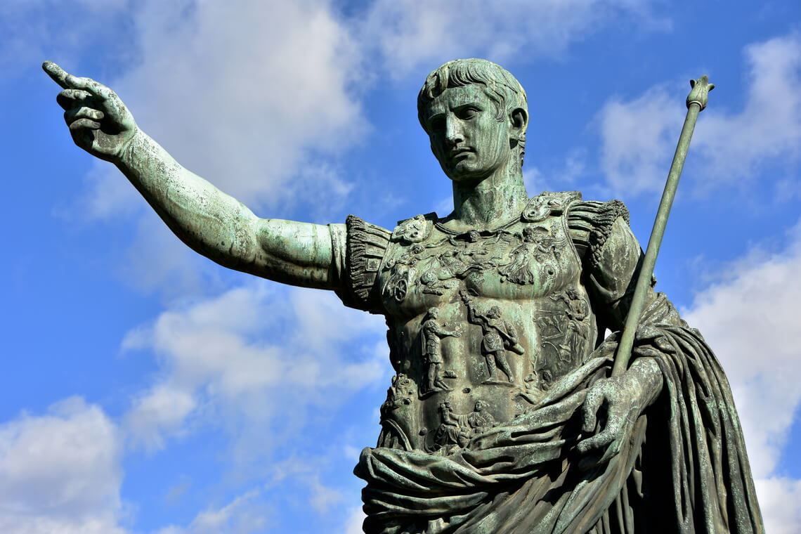 Octavianus Augustus shows where to deliver the parcel